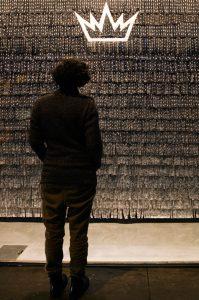Pouvoir et Religion (Power and Religion), Window commission at Rivington Place, 2011, Textile. Photo - Kate Elliott